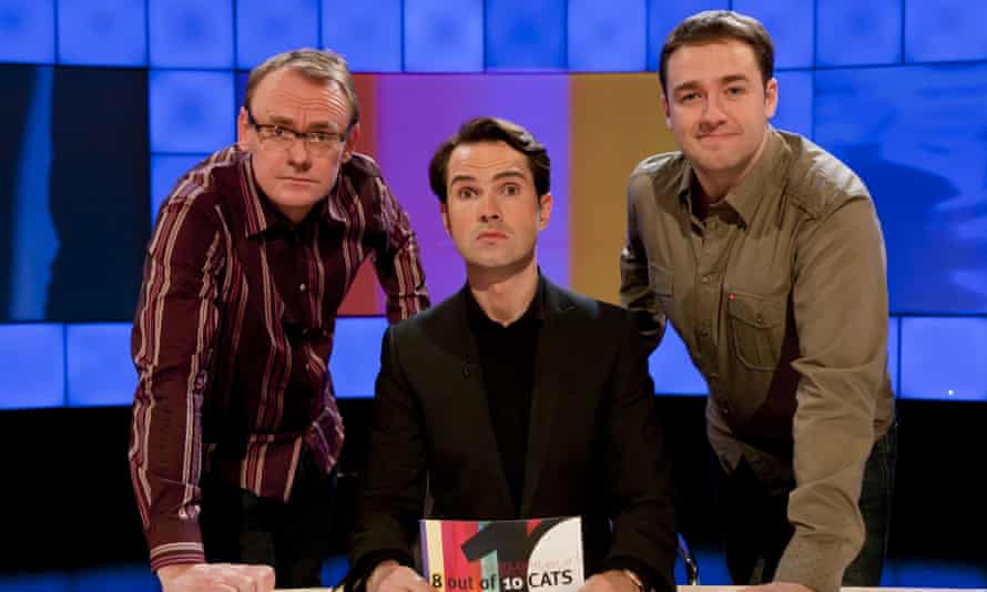 Sean Lock, left, with his fellow team captain Jason Manford, right, and host Jimmy Carr on the set of 8 Out of 10 Cats.