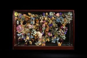 Buprestidae 2014 Victorian case, copper wire, flowers