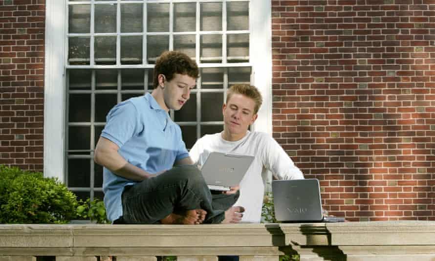 Facebook creators Mark Zuckerberg and Chris Hughesin 2004.