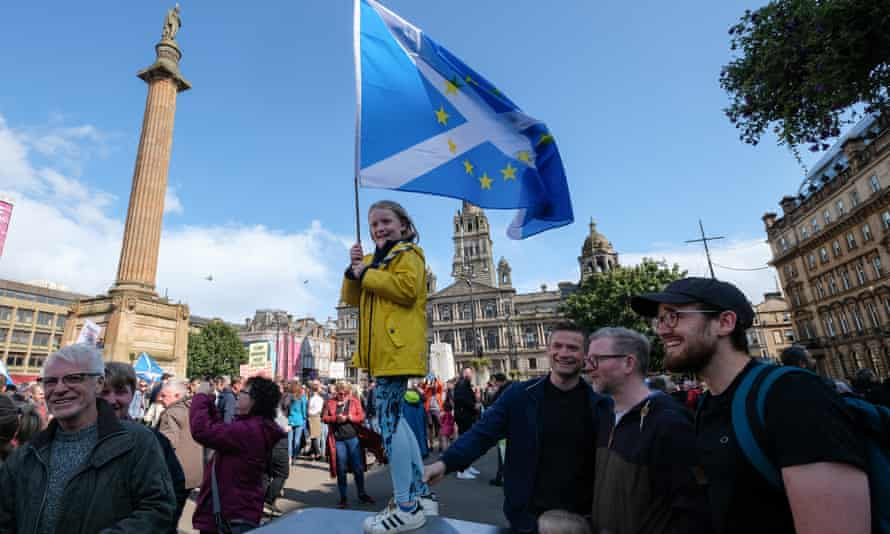 A Stop the Coup protest in George Square in Glasgow.