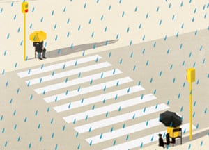 Illustration of people under umbrellas sitting at opposite ends of zebra crossing in the rain