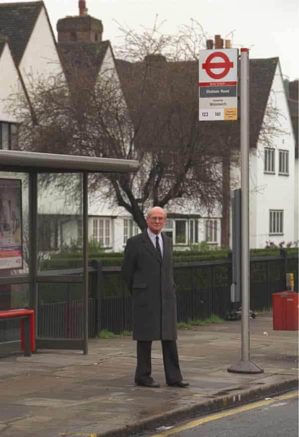 Sir William Macpherson visiting the bus stop in Eltham, south London, where Stephen Lawrence was attacked.
