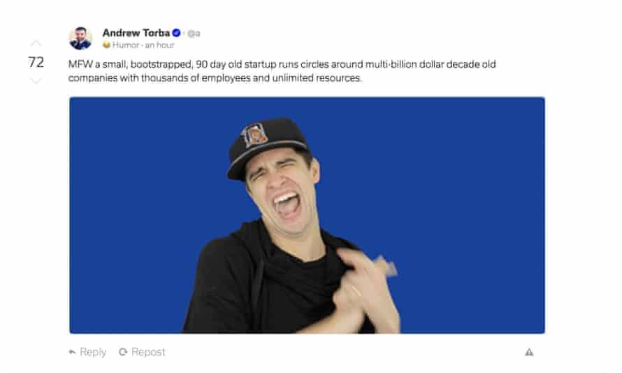Andrew Torba, Gab's founder, taunts Twitter.
