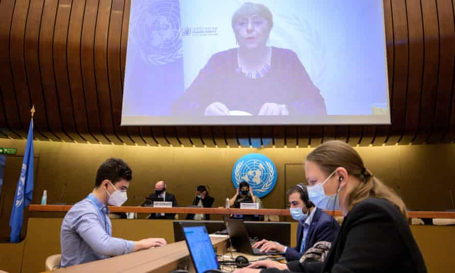 The UN high commissioner for human rights, Michelle Bachelet, delivers her speech remotely at the opening of the emergency session in Geneva.