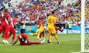 Tim Cahill of Australia shoots at goal.