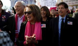 House minority leader Nancy Pelosi spoke at the march in Washington.