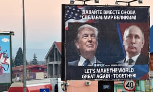 A billboard by a pro-Serbian movement in Montenegro celebrates the Trump-Putin relationship