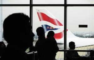 Passengers await their flights at Heathrow