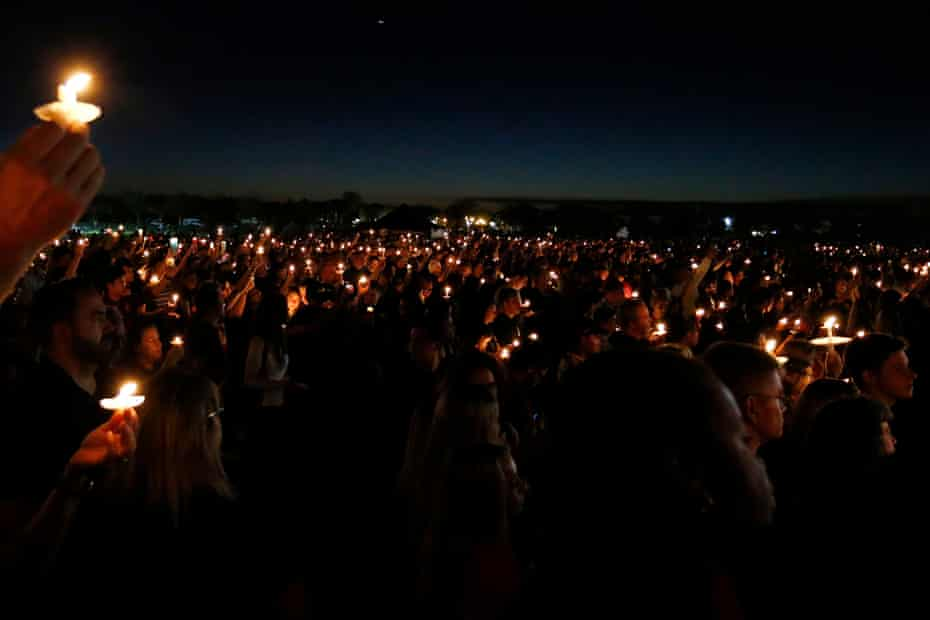 A candlelight vigil for the shooting victims in Parkland.