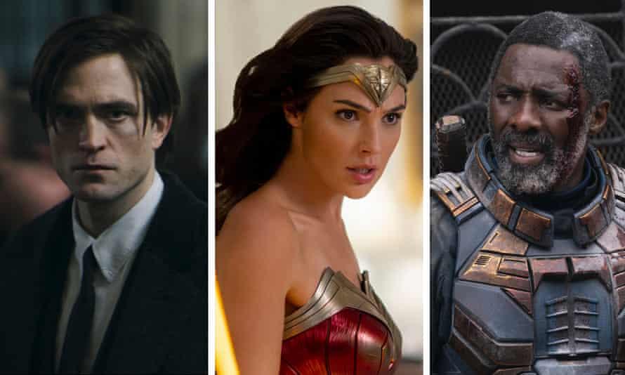 Trailer tracks ... Robert Pattinson in The Batman, Gal Gadot in Wonder Woman 1984, and Idris Elba in The Suicide Squad.