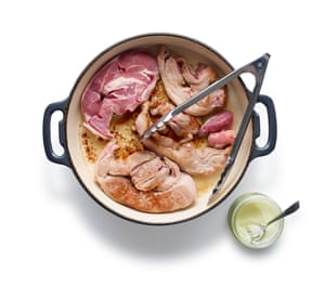 Felicity Cloake Perfect Scouse 01: 1 Brown the meat, ideally in beef dripping, then lift out before frying the sliced onions and cubed potatoes.
