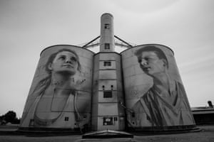 One of the closest silo artworks to Melbourne, this mural at Rupanyup was created by the Russian street artist Julia Volchkova. The work reflects the sporting culture of Rupanyup's young people and features Jordan Weidemann and Ebony Baker, who are members of local Australian football and netball teams.