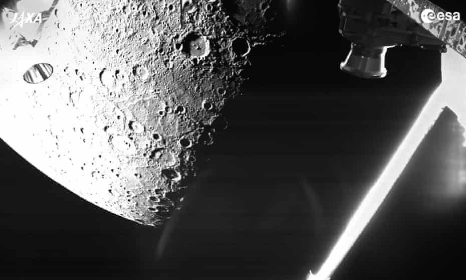 An image of Mercury taken by the BepiColombo spacecraft as it flew past the planet on Friday.