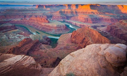 Dead Horse Point state park in Utah features a dramatic overlook of the Colorado River and Canyonlands national park. A proposed land sale could see energy extraction within a half-mile of Canyonlands.