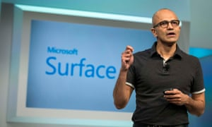Satya Nadella, Microsoft's CEO, unveils a new version of the Surface.