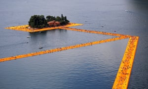 An aerial view of 'the Floating Piers' installation.