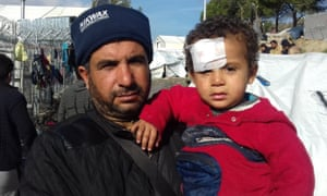 Syrian refugee Saleh Alhussein and his son Mohammed.