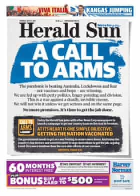 The Herald Sun's A call to arms front page