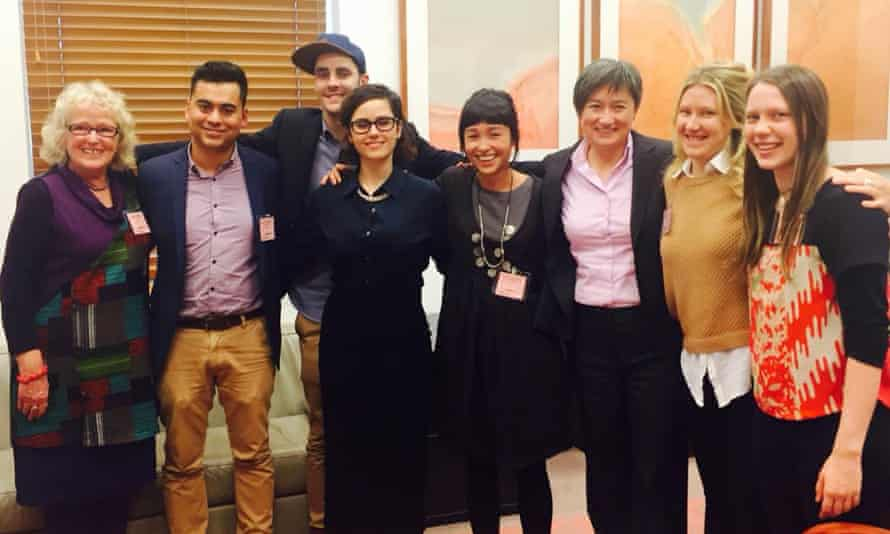 Gayby Baby director Maya Newell with Senator Penny Wong (fifth and sixth from left) and crew ahead of a screening at Parliament House on 19 August.