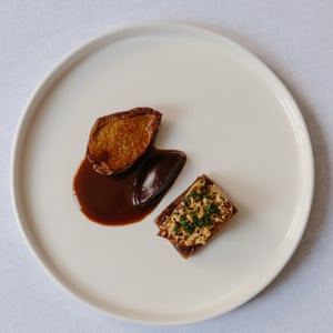 Xier's pigeon, beetroot, foie gras, purple potato and hazelnut crumble. Photographs by Maria Bell for the Guardian.