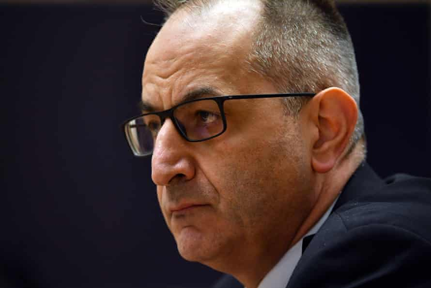 Mike Pezzullo, secretary of the department of home affairs, appearing before the Senate.