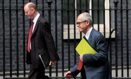 Chief medical officer for England, Chris Whitty, and government chief scientific adviser, Sir Patrick Vallance, outside Downing Street in July.
