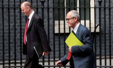 Chris Whitty and Sir Patrick Vallance in Downing Street in July.