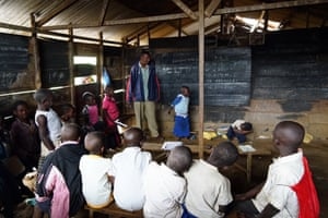 The local primary school, with teacher Maitre Nziago