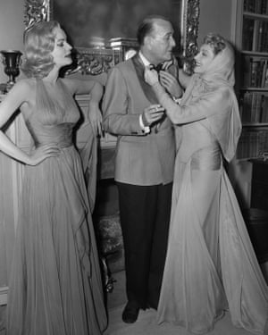 Lauren Bacall as Elvira, Noël Coward as Charles and Claudette Colbert as Ruth during rehearsals of the CBS television production in 1956.