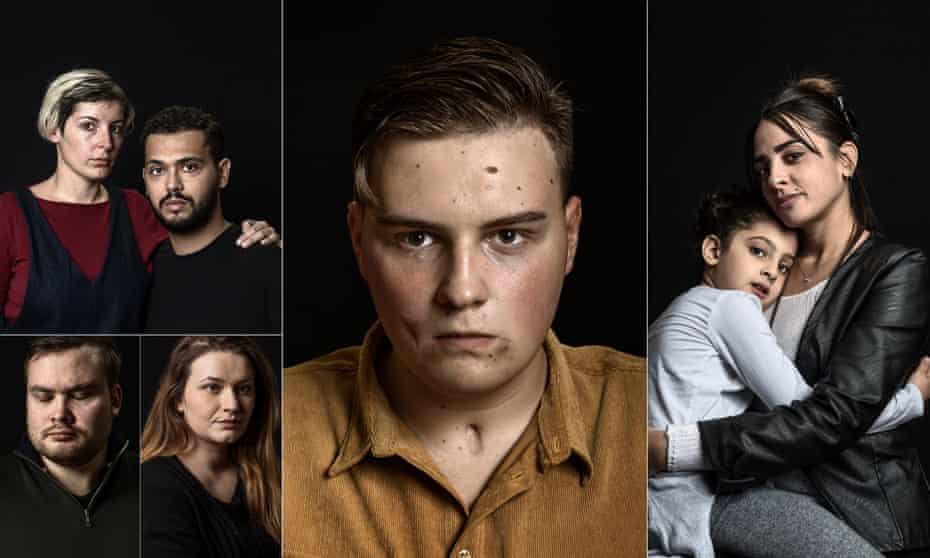 Composite of survivors of terror attacks. Clockwise from top left: Chloé De Bacco and Mahdi Zaidi; Adam Lawler; Hager Ben Aouissi and her daughter Kenza; Emma Martinovic; and Tarjei Jensen Bech