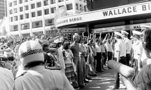 A 'right to march' protest in Brisbane in October 1977