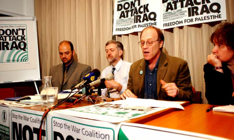 Jeremy Corbyn (second left) at a Stop the War Coalition press conference in 2002.