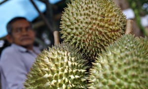 Durians on sale in Sepang, Malaysia.
