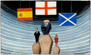 Steve Bell cartoon 31/7/20: Boris Johnson, Pedro Sanchez and Nicola Sturgeon on coffin podiums