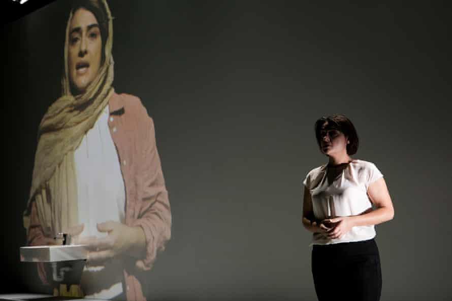 A production shot from Stop Girl by Sally Sara, showing at Belvoir St Theatre in Sydney in 2021.
