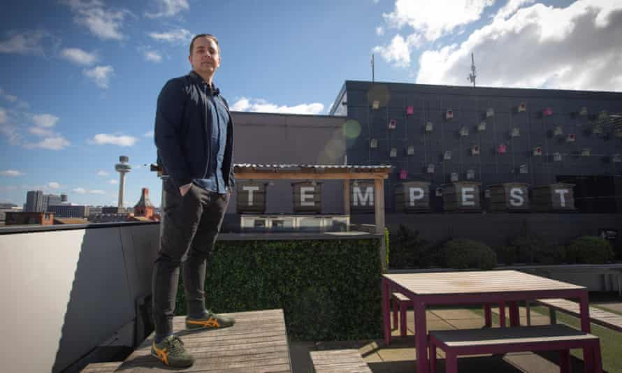 Iain Hoskins on the rooftop terrace of Tempest on Tithebarn, Liverpool