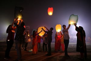 Sky lanterns are released in Raiganj in the eastern state of West Bengal, India