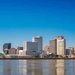 Stock photograph of the skyline of New Orleans and the Mississippi River