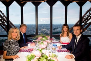 President Emmanuel Macron, his wife Brigitte, President Donald Trump and his wife Melania dine at Le Jules Verne Restaurant in the Eiffel Tower in Paris