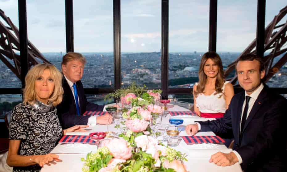 Donald and Melania Trump with Emmanuel and Brigitte Macron at the Jules Verne restaurant at the Eiffel Tower.
