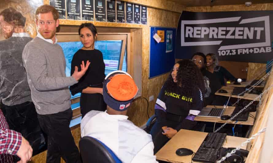 Prince Harry and Meghan Markle in the  Reprezent 107.3FM studio in Pop Brixton.