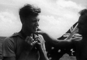 David Attenborough on the reef in 1957.