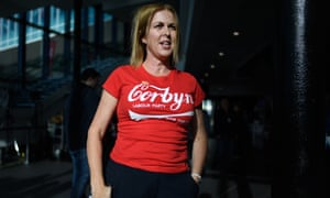 """A delegate wearing a """"Corbyn"""" t-shirt at the Labour conference."""