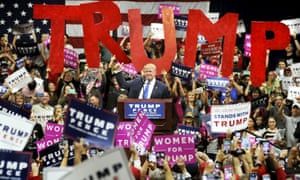 Donald Trump rallies supporters in Pennsylvania in October 2016.