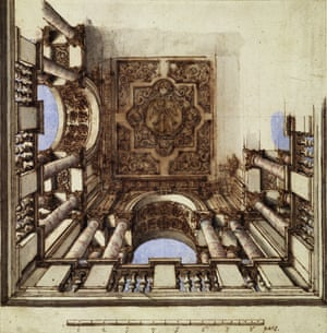 Design for a ceiling with columns and coffered arches, Italy, c1700, unknown designer, from Disappear Here.