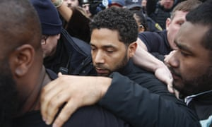 Jussie Smollett leaves Cook county jail last month following his release in Chicago.