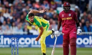 Australia's Mitchell Starc in action against the West Indies at Trent Bridge.