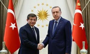 President Erdoğan with Ahmet Davutoğlu at the presidential palace in Ankara