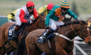 Victoria Pendleton, left, riding Pacha Du Polder to fifth in the 2016 Foxhunters' Chase at Cheltenham.