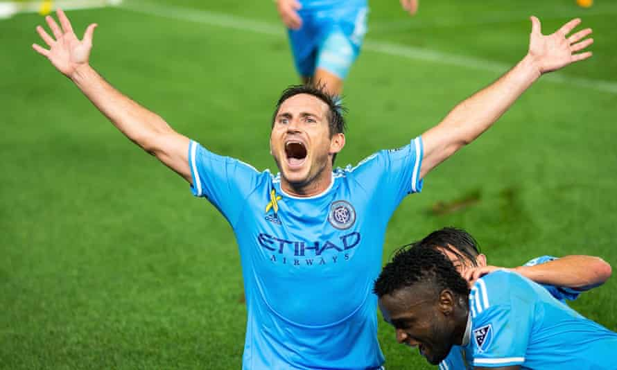 Frank Lampard celebrates his last-minute winner against DC United.